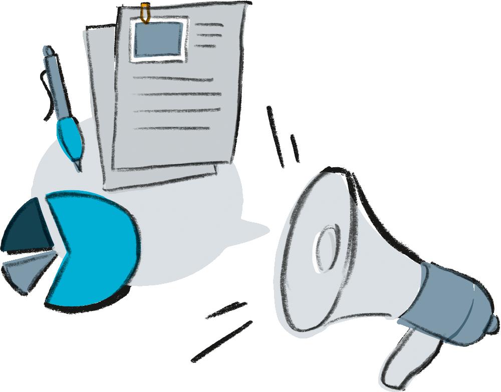 Illustration zum Bereich Unterstützung. Zeigt Unterstützungsmöglichkeiten: finanzielle Hilfe, Hilfe bei der Suche nach medizinischer oder juristischer Unterstützung.