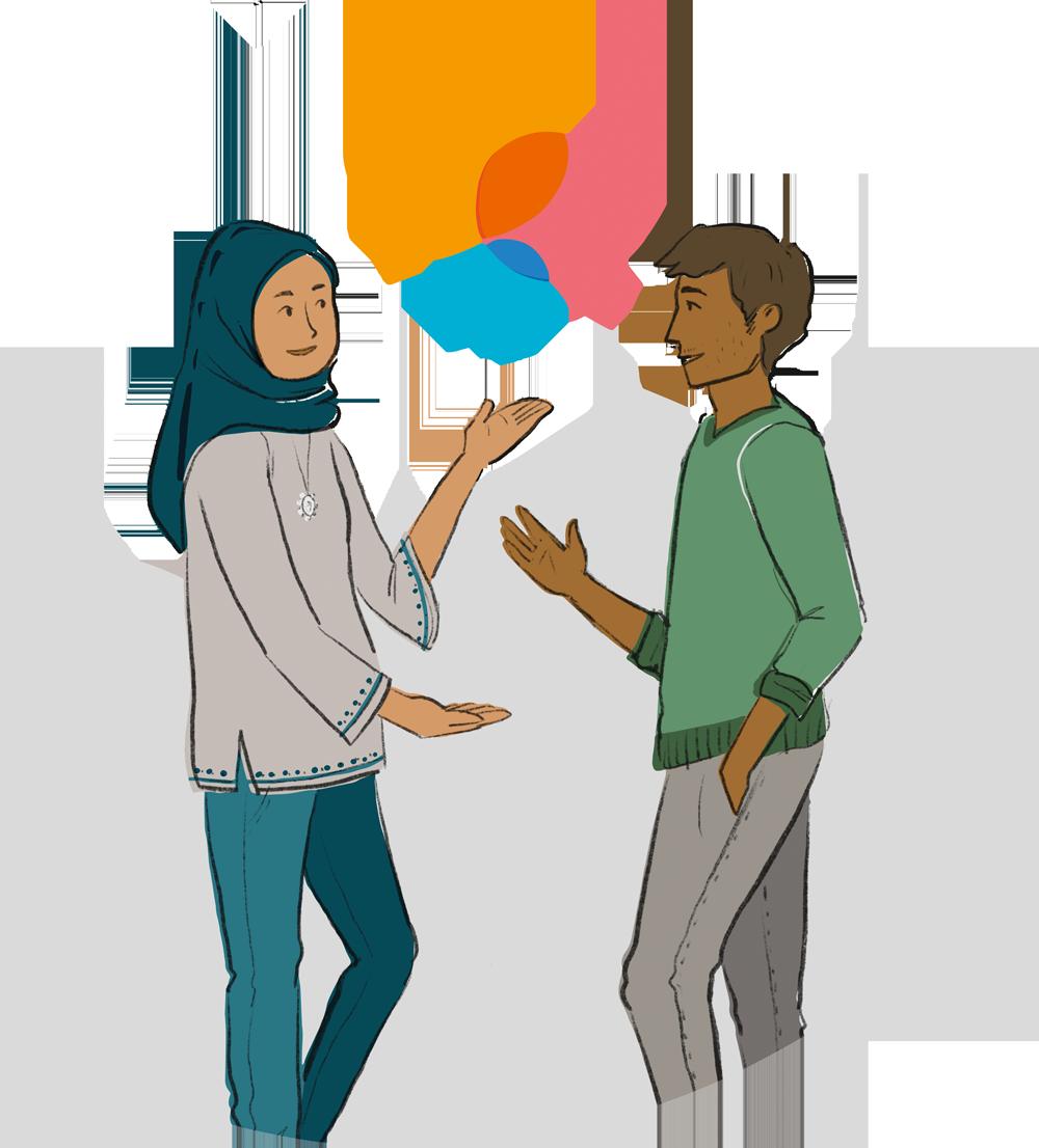 Illustration: Zwei Personen unterhalten sich. Die linke Person trägt einen Hijab, einen grauen Pullover und eine Jeans. Die rechte Person trägt einen grünene Pullover und eine graue Hose. Zwischen Ihnen sind drei Sprechblasen in orange, rosa und blau abgebildet.