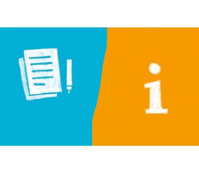 Illustration zwei Sprechblasen. Stehen jeweils für den Bereich Beratung und Dokumentation.