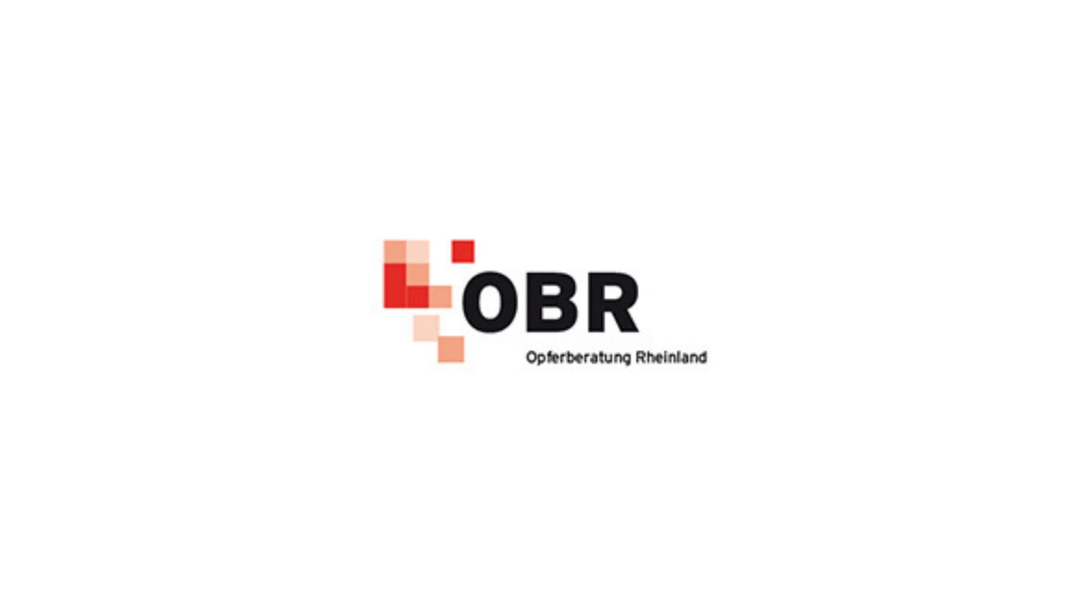 Logo der Beratungsstelle OBR: Opferberatung Rheinland. Neben roten und hellroten Kacheln stehen die Buchstaben OBR. Darunter steht: Opferberatung Rheinland.